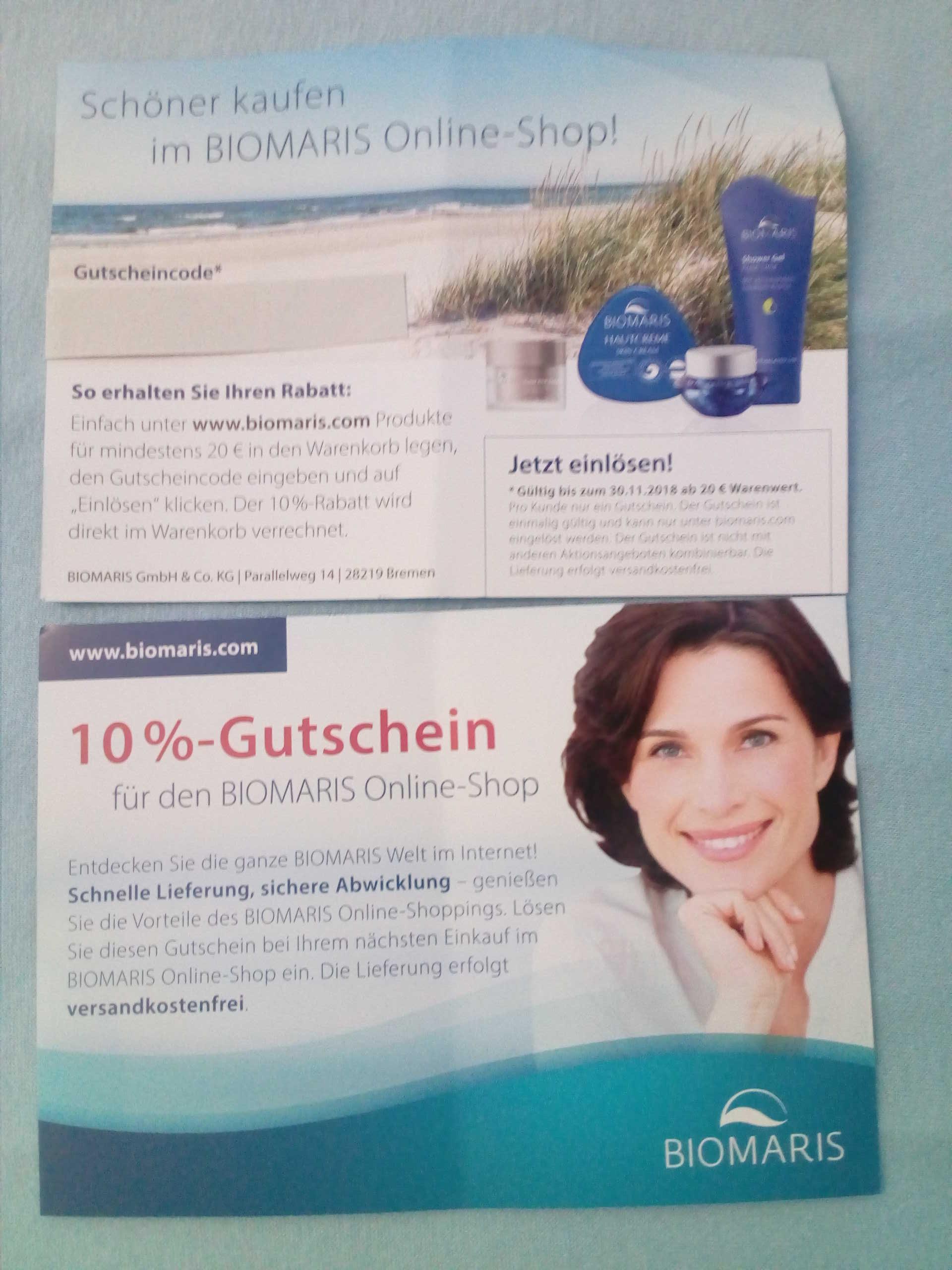 0153e0340d16d6 BIOMARIS  10% Gutschein + Gratis Versand  offline
