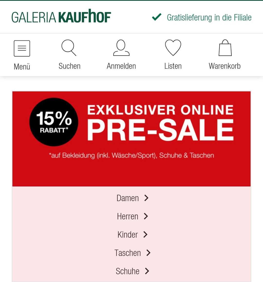 Großer Pre Sale bei Galeria Kaufhof 15% Rabatt auf