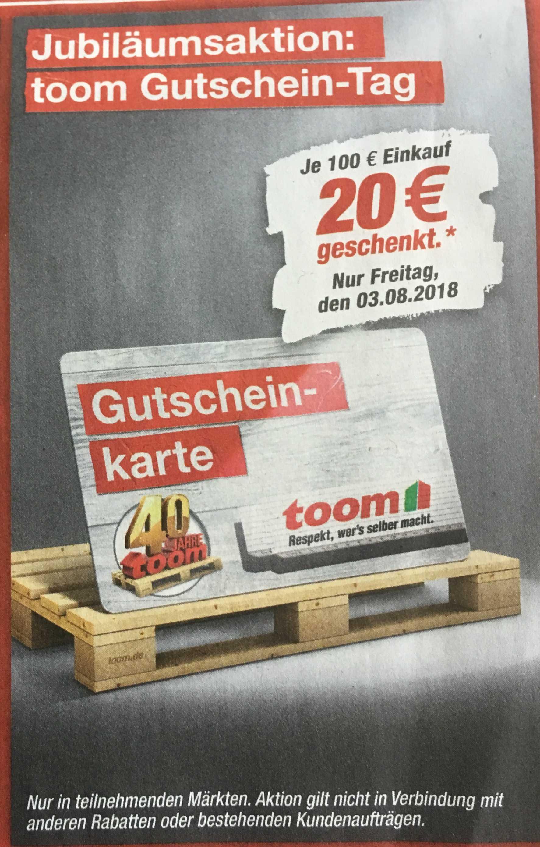 toom baumarkt (teilnehmende filialen):am freitag, 03.08., je 100