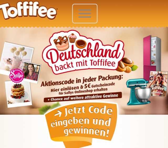 deutschland backt mit toffifee 5 gutscheincode f r sallys onlineshop in jeder aktionspackung. Black Bedroom Furniture Sets. Home Design Ideas