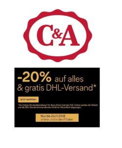 44f9beccb6 Vorbei Jetzt bei C&A: 20% Rabatt auf ALLES + kostenloser Versand!