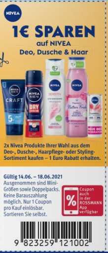 Bei Kauf 2x Nivea Produkte 1€ Rabatt