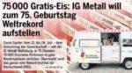 GRATIS *75.000 Eis* in 75 Stunden zum 75. Geburtstag der IG Metall in Niedersachsen vom 21.-24.07.21