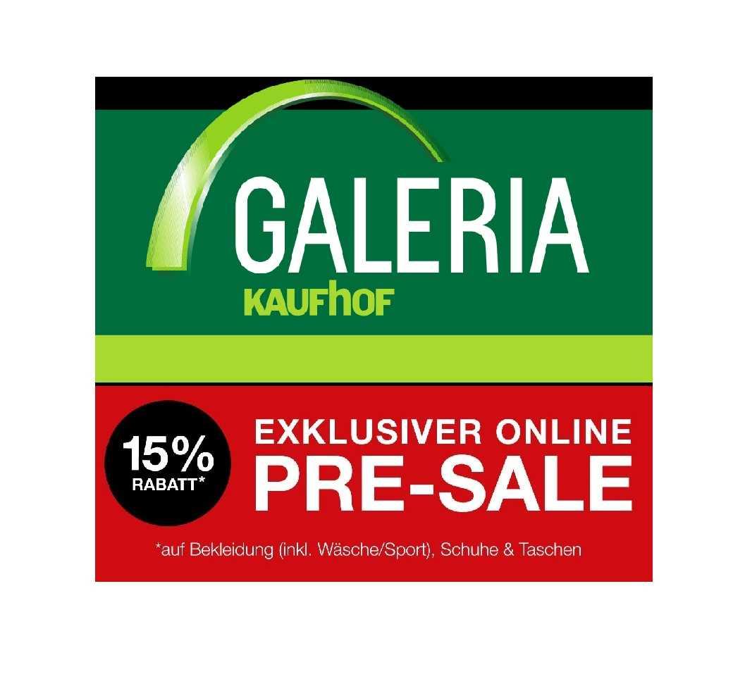 Galeria Kaufhof: Pre Sale mit 15% Rabatt auf Bekleidung!