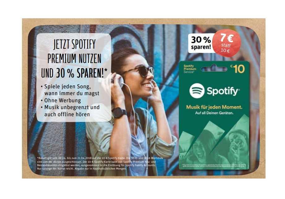 Spotify Karte 10.Offline Rewe Spotify Aufladekarte Für 7 Statt 10