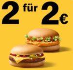 McDonalds App: 2 Cheese- oder Chickenburger für 2€
