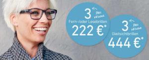 3 Fern-/oder Lesebrillen 222 EUR oder 3 Gleitsichtbrillen für nur 444 EUR bei Eyes + More