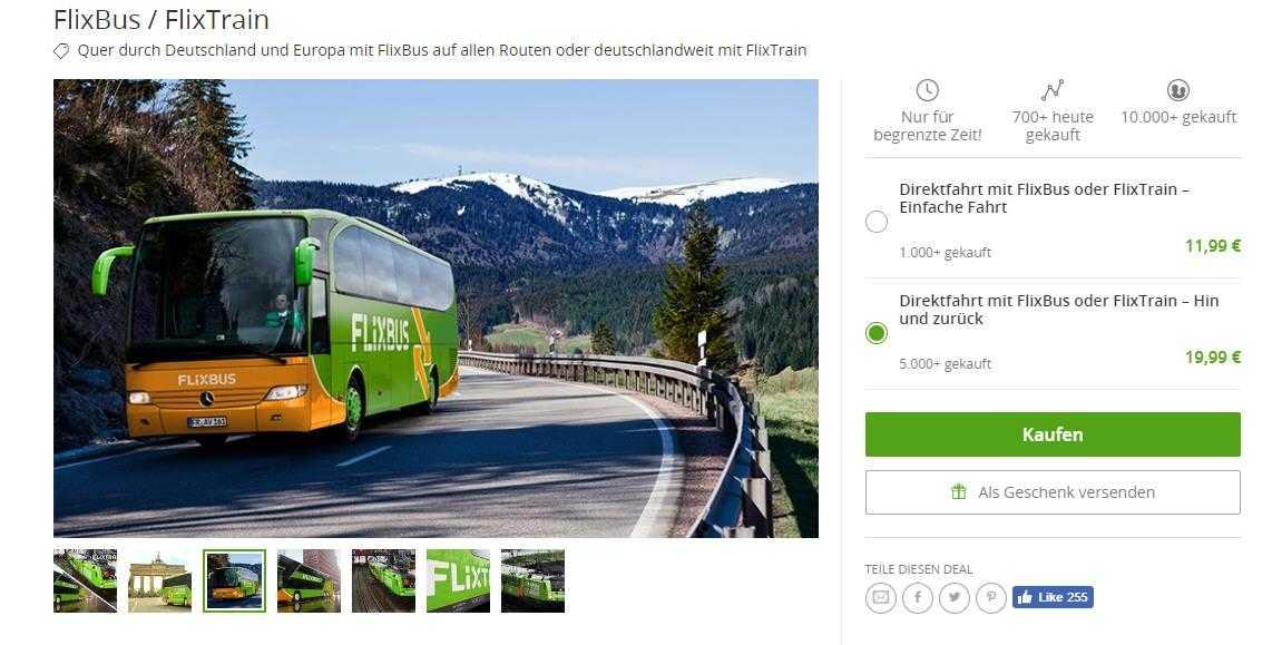 Flixbus/Flixtrain Hin & Zurück Ticket für 20€ bei Groupon