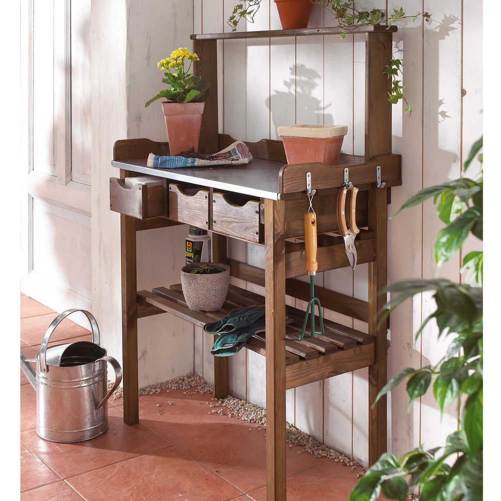 garten arbeitstisch aus holz metall. Black Bedroom Furniture Sets. Home Design Ideas