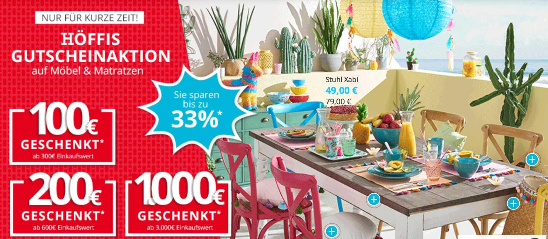 Höffner Gutscheine 100 Ab 300 Bestellwert 200 Ab 600 500