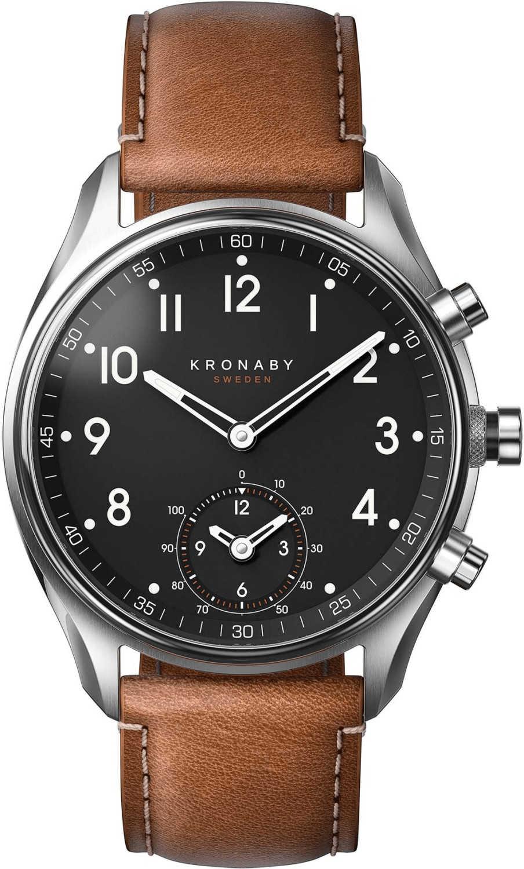 kronaby-hybrid-smartwatch-silber-braun-leather-strap