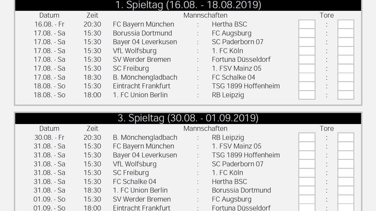 Bundesliga.Spielplan