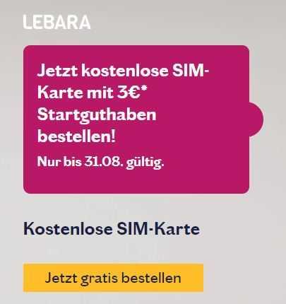 Sim Karte Gratis.Gratis Lebara Sim Karte 3 Startguthaben Im Telekom Netz Prepaid