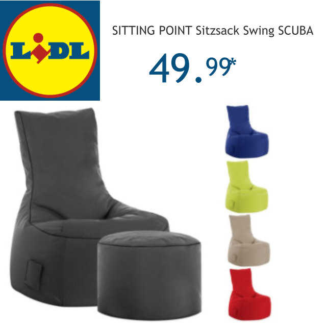 happy hours bei lidl mit gutscheincode shop23 sitting point sitzsack swing scuba f r. Black Bedroom Furniture Sets. Home Design Ideas